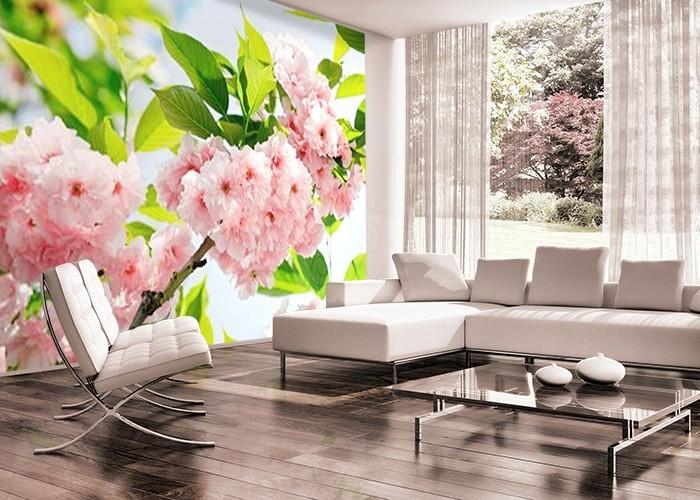 Różowe Kwiaty - fototapeta